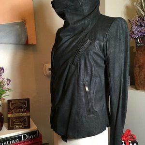 Rick Owens Jackets & Coats - Rick Owens Leathe rSide Zip Funnel Neck Jacket